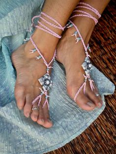 reserved for winsome BRIDAL BAREFOOT sandals PINK shanti collection beach wedding kundalini beaded foot jewelry made to order