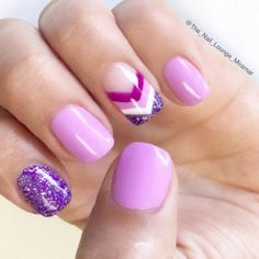 Purple lavender chevron nail art design