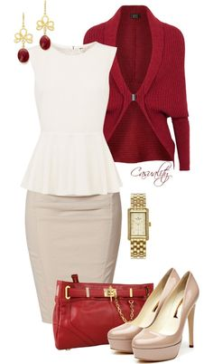 """White Peplum Top, Pencil Skirt, & Red Clutch"" by casuality- feels like a good December work or church outfit! Business Outfits, Business Attire, Business Fashion, Business Casual, Business Women, Classy Outfits, Casual Outfits, Dress Outfits, Jw Mode"