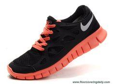 New 512934-002 Black Reflective Silver Bright Mango Womens Nike Free Run 2