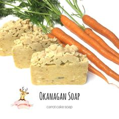 Carrot Cake Soap is one cleaning product you can't do without! It helps remove dirt and impurities that accumulate on the skin. The carrot soap is naturally from the natural ingredient, carrots, the beta-carotene which is a powerful antioxidant. Carrot Soap, Carrot Cake, Vegan Soap, Vegan Cake, Wooden Soap Dish, Essential Oils Soap, Beta Carotene, Soap Recipes, Organic Oil