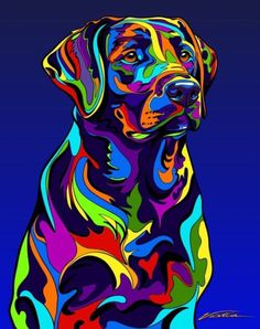 Multi-Color Labrador Retriever Dog Breed Matted Prints & Canvas Giclées