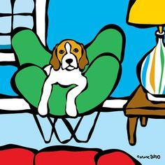 Beagle on Beach House Print from Marc Tetro