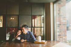 engagement shoot in a coffee shop