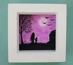 #Mother #Daughter #Picture; #Mothers Day #Gift, #Moon #Tree #Birds #Drawing, #Purple #Art £16.00