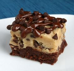 chocolate chip cookie dough brownie. oh my gosh, yum. http://i-recipes.net/