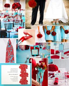 This are my dream wedding colors! Bridesmaids wear turquoise with red bouquets and bride's bouquet is mixed red and turquoise. My grandmother's favorite color is turquoise, so I really want to incorperate that in to my big day. Now, all I have to do is find the guy ;)