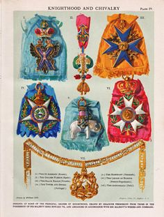vintage medals of honor for Knighthood and Chivalry, a dictionary print from the 1920's.