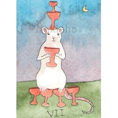 TaRat  The Rat Tarot  Original Art  Seven of Cups by bluedogrose, $8.00