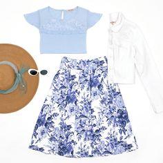 Jellicoe Skirt | White And Multi | Skirt  Ridley Jacket | White | Jacket  Elana Top | Powder Blue | Top