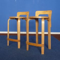 Set of 2 stools from the sixties by Alvar Aalto for unknown producer