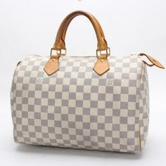 Louis Vuitton Speedy 30 Damier Azur Handle bags White Canvas N41533