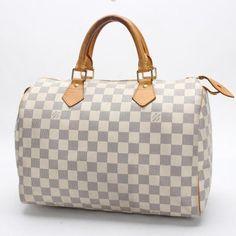 Louis Vuitton Speedy 30 Damier Azur Handle bags White Canvas N41533