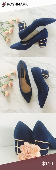 """{Steven by Steve Madden} Buena Pump Pretty metallic details take these practical pumps to an elegant level. Take them from the office to a romantic dinner in a cinch.  Rich navy suede with gold details   c o n t e n t + 100% cotton   c o l o r + navy blue  h o s t p i c k +   m e a s u r e m e n t s ✂️ + 2 1/4"""" heel  m e 💄 5'4"""" 
