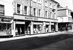 Montague Street, Worthing, Looking North-East. From the left we have nos (Walter Bros) and no. 56 (E H Isted). Between 56 and 58 we see the 'lost' end of Grafton Road (which no-longer adjoins Montague Street) Worthing, My Town, Local History, Past, Street, Places, 1960s, Nostalgia, Pictures