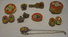 VINTAGE LOT OF 9 ALL MICRO MOSAIC JEWELRY PINS, NECKLACE, PILL BOX, RING + MORE