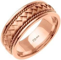 #Jewelry 14K Rose Solid Gold Hand Braided Wedding Ring Band for Men