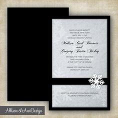 Black + White Snowflake Winter Wedding Invitation by Allison LeAnn Design