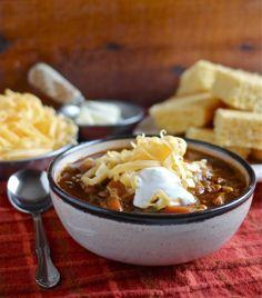 Spicy Three Bean Chili with Corn #recipe