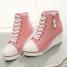 Comfortable Big Size Canvas Korean Style High Top Lace Up Zipper Wedge Heel Casual Shoes - NewChic Fancy Shoes, Me Too Shoes, Big Shoes, Shoes Style, Sneakers Fashion, Fashion Shoes, High Fashion, Shoe Boots, Shoes Heels
