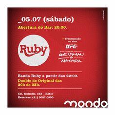 Sábado. 05/07 - Banda Ruby