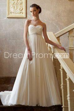 Brilliant Empire Sweetheart Floor-Length Chapel Ruffles Wedding Dresses