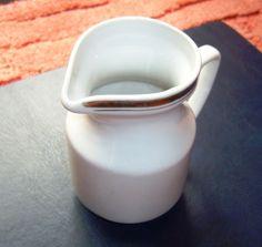 USSR Latvia Creamer Pitcher White w. gold trim RIGA Porcelain Factory - RPR Riga