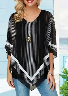 Stripe Print V Neck Asymmetric Hem Blouse Stylish Tops For Girls, Trendy Tops For Women, Cheap Custom Shirts, Printed Blouse, Ladies Dress Design, Stripe Print, Shirt Blouses, Tunic Tops, Outfits