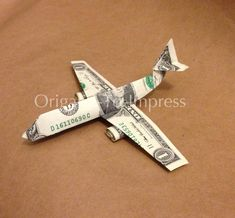 Fun for a gift for a retiree, honeymoon fund for the bride and groom, birthday gift for a pilot, flight attendant, or Airline Employee, etc Boeing 747 Money Origami - Dollar Bill Art