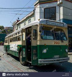 Trolley bus on the street, Valparaiso, Chile Stock Photo