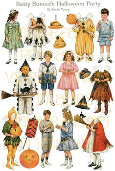 Vintage Halloween Old Fashioned Paper Dolls.