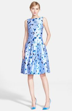 Oscar de la Renta Poppy Print Silk Blend Mikado Fit & Flare Dress available at #Nordstrom 2015