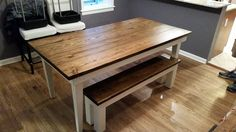 "James+James: 7' x 37"" Farmhouse Table with tapered legs, traditional top, Dark walnut stain with Ivory Base"