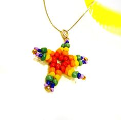 Beaded starfish on 18 chain one of a kind by FineBeachJewelry