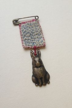 Image of Little bunny brooch with french linen hand stitched detail