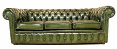 Chesterfield Sofa in Green.  All the things I love.  Vintage.  Green.  Leather.  Big.