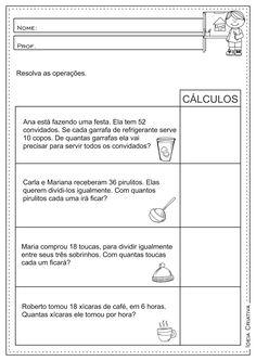 Atividades Educativas Matemática Contas Armadas/Operações Básicas (Divisão, Multiplicação. Subtração e Adição) para Ensino Fundamental