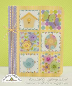 Would use plainer paper to show off the embellishments, but what a fun spring card!