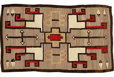 Vintage Navajo rug with graphic red, white, and black design on gray field. Navajo Weaving, Navajo Rugs, Native American Rugs, Southwest Art, Magic Carpet, Cozy Cabin, Native Art, Rustic Style, Handmade Art