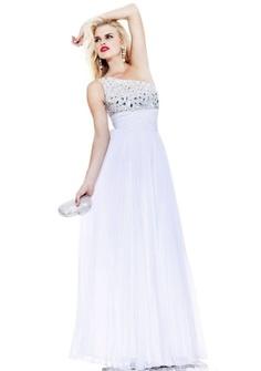 A-line One Shoulder Floor-length in Satin Evening Dress