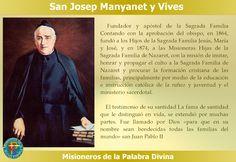 MISIONEROS DE LA PALABRA DIVINA: SANTORAL - SAN JOSEP MANYANET Y VIVES