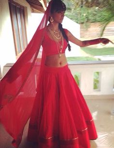 Plain Bright Red #Lehenga.