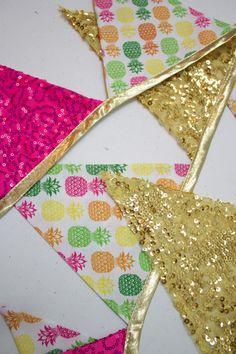 Pineapple Gold Pink Sequin Glitter Fabrics Pennant Bunting Banner for Luau, Birthday Party, Graduation, Bridal Shower, Bachelorette Party, Girls Room, Playroom or Photo Prop by MsRogersNeighborhood Etsy shop