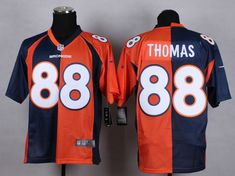 Men's Nike NFL Denver Broncos #88 Demaryius Thomas Orange Navy Blue Elite Split Jerseys