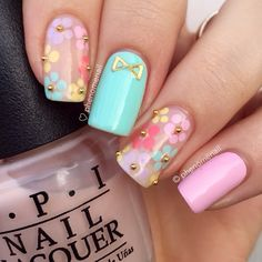 Spring Pastel Nail Art Designs Maybe just the ring finger Cute Nail Art Designs, Flower Nail Designs, Nail Designs Spring, Floral Designs, Nail Designs For Toes, Frensh Nails, Cute Nails, Pretty Nails, Teen Nails