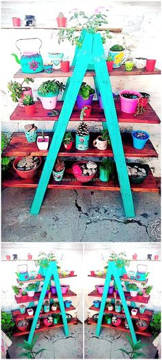 Create a huge planter to place small vases and planters on it for making the home impressive with the innovative shipping pallet planter idea. The planter is colorful and it can be made funky with the use of bright paint colors.