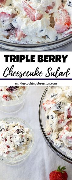 Triple Berry Cheesecake Salad features cream cheese whipped topping a little sugar and plump juicy strawberries blueberries and blackberries! Fruit Salad With Cream, Cream Cheese Fruit Salad, Cheesecake Fruit Salad, Salad Cream, Cream Cheese Desserts, Köstliche Desserts, Delicious Desserts, Yummy Food, Blackberry Cheesecake