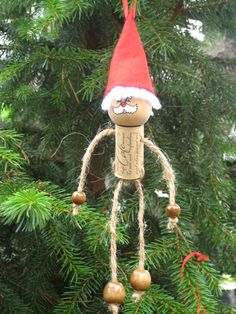 Wine Cork Santa Claus Ornaments by TurtleLoveLee on Etsy