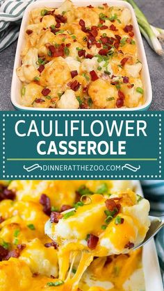 This cauliflower casserole is cooked cauliflower florets tossed in a homemade cheese sauce, then mixed with bacon and green onions and baked to golden brown perfection.