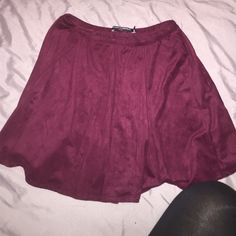 Brandy Melville burgundy skirt faux suede / really soft / brand new never worn (it is the same skirt as the black one  I'm wearing in the other photo) Brandy Melville Skirts Mini